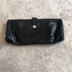 Black hobo clutch with chain strap
